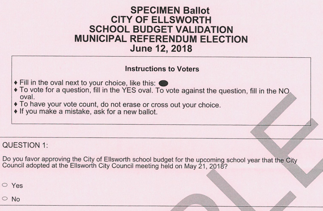 June 12th 2018 Election Sample Ballots City Of