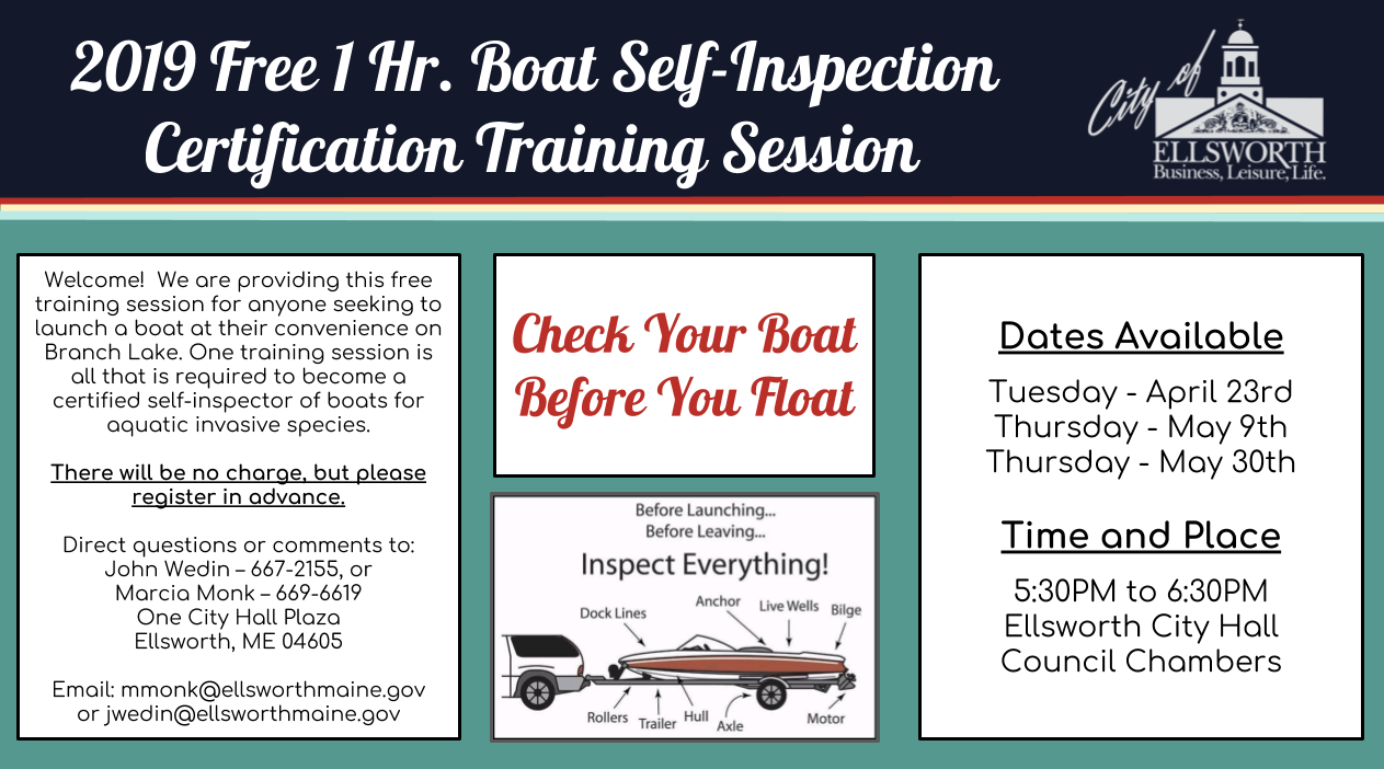 2019 Free Boat Self-Inspection Certification Training - City